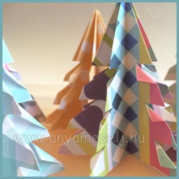 Karácsonyfa színes papírból