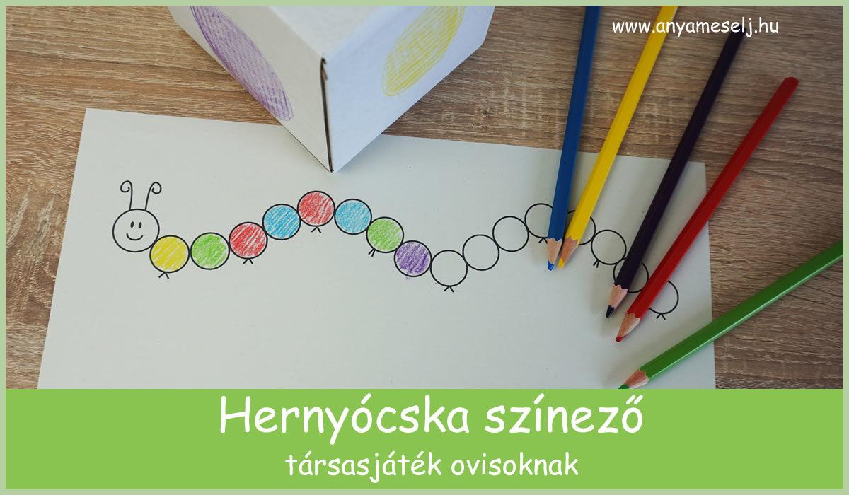 Hernyócska színező – társasjáték ovisoknak