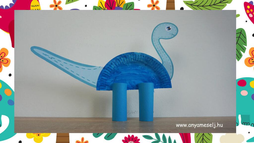 Papírtányér dínó kék