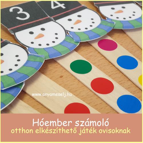 Hóember számoló – otthon elkészíthető játék ovisoknak