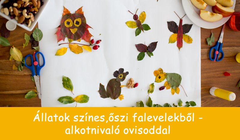 Állatok színes, őszi falevelekből